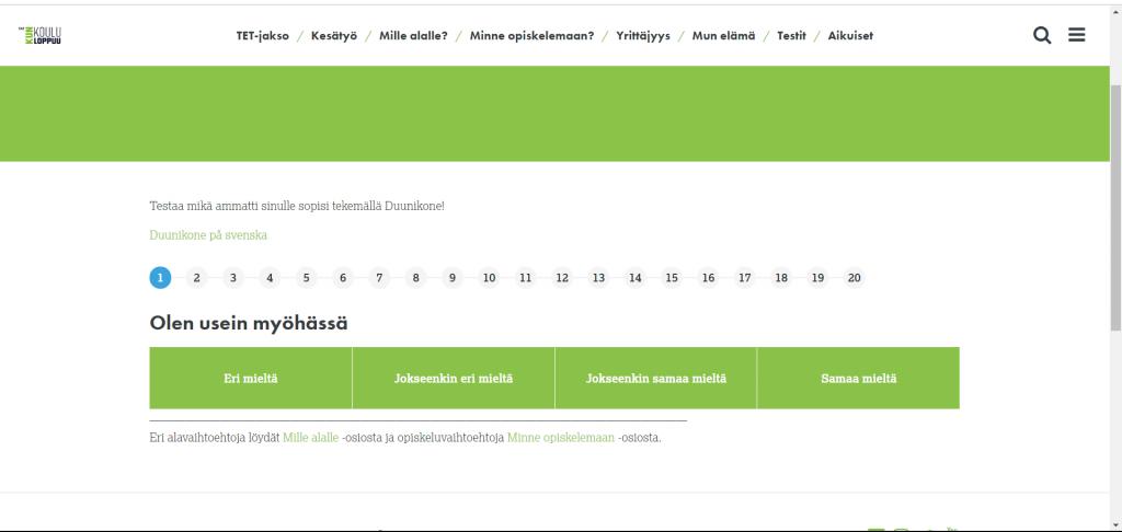 Kuva Duunikone -ammatinvalintatestistä.