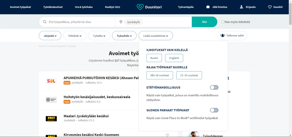 Duunitorin avoimien työpaikkojen hakusivusto.