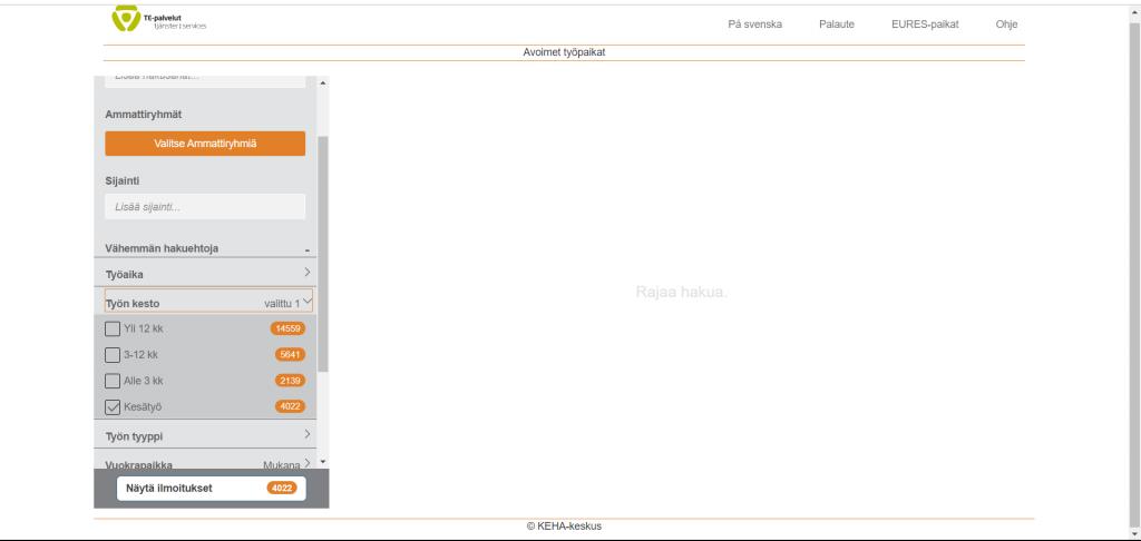 www.mol.fi -sivuston avoimien työpaikkojen hakuvalikosta kuva.