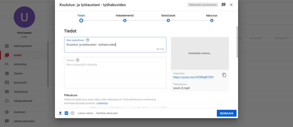 YouTube, video-CV, videon lisäys